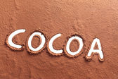 Cocoa written with cocoa powder — Stock Photo