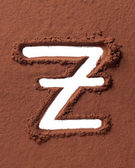 Letter Z made of cocoa powder — Stock Photo