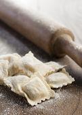 Preparing homemade ravioli — Stock Photo
