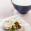 Chicken pita with lettuce and carrot - Stock Photo