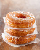 Croissant and doughnut mixture pile — Stockfoto