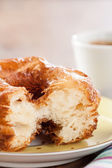 Croissant and doughnut mixture on a dish close-up — Stock Photo