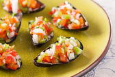 Steamed mussels with vegetable mince — Stock Photo