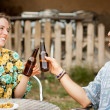 Couple of friends making a toast — Stock Photo