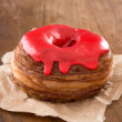 Cherry fondant croissant and donut mixture — Stock Photo