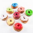 Stock Photo: Several colorful fondant croissant and donut mixture