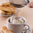 Stock Photo: Chocolate cup with whipped cream and ladyfingers