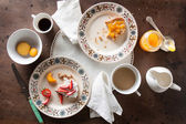 Eating romantic breakfast in table — Stock Photo