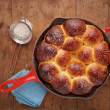 Brioche ball pie in a pan overlook shot — Stock Photo