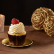 Raspberry cupcake on Christmas background — Stock Photo #35718309