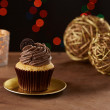 Oreo cookie cupcake on Christmas background — Stock Photo