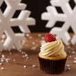 Raspberry cupcake on Christmas background — Stock Photo #35795541