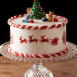 Fondant Christmas tree cake — Stock Photo