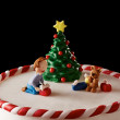 Fondant Christmas tree cake detail — Stock Photo