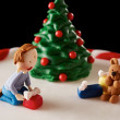 Fondant Christmas tree cake detail — Stockfoto #35795747