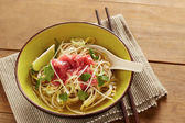 Beef meat rice noodle pho soup — Foto Stock