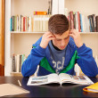 Male teenager concentrated studying — Stock Photo