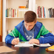 Stock Photo: Male teenager concentrated doing homework