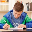 Male teenager concentrated doing homework — Stock Photo