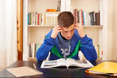 Male teenager concentrated studying — Foto Stock