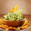 Mexican nachos with handmade guacamole sauce — Stock Photo