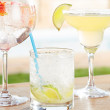 Stock Photo: Caipirinha, strawberry gin and tonic and margaritcocktails by