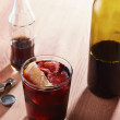 Stock Photo: Kalimotxo wine and colmixture glass