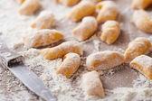 Primer plano de gnocchis de calabaza cruda — Foto de Stock