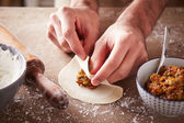 Preparing vegetable dim sums — Stock Photo
