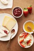 Cheese for breakfast overlook shot — Stock Photo