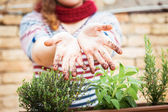 Dirty hands of soil — Stock Photo