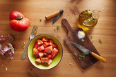 Bowl of raw tomato salad — Stock Photo