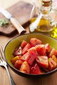 Bowl of raw tomato salad — Стоковое фото