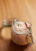Homemade pickled onions in a jar — Stock Photo