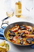 Typical spanish seafood paella — Стоковое фото