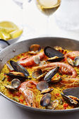 Typical spanish seafood paella — Stock Photo