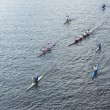Rowers accompanying the Olympic torch — Foto Stock