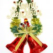 Christmas decorations / ornaments: red bells on Christmas tree b — Stock Photo