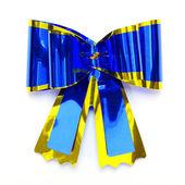 Blue bow isolated on white — Stock Photo