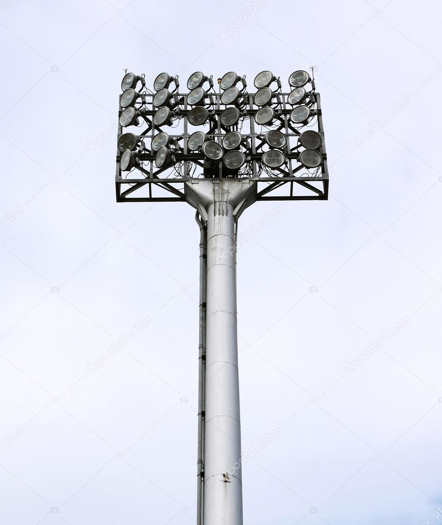 A football stadium floodlight with metal pole  — Stock Photo #13203162
