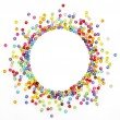 Stock Photo: Colorful beads, circle shape space for photo or text isolated on