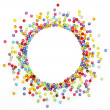 Colorful beads, circle shape space for photo or text isolated on — Stock Photo