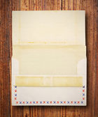 Stained vintage letter and envelope, Blank for your own text on — Stock Photo