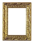 Empty golden vintage frame isolated on white background — Stock Photo