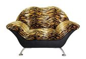 Armchair with tiger fur, isolated on white background — Stock Photo