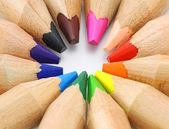 Color pencils set as color wheel on white background — Stock Photo