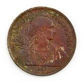 1947 antique rare coin of france — ストック写真