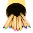 Color pencils in cardboard box — Stock Photo