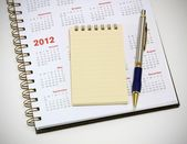 Penna e taccuino del calendario 2012 — Foto Stock