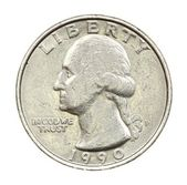 The American coin in twenty five cents — Stock Photo